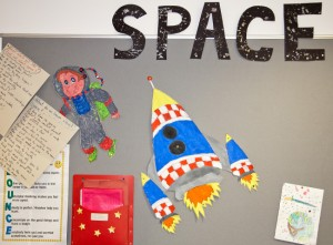 Photo of classroom work on Space topic