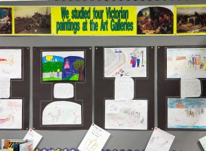 Photo of classroom work on Victorians topic